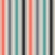 Papillon by Makower UK - 5164 - Coral & Teal Stripe on Cream - 1765_S - Cotton Fabric
